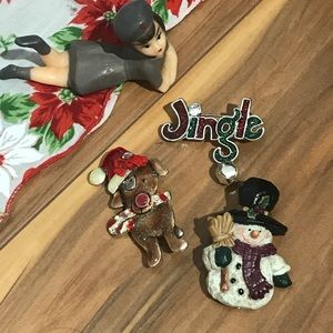 💎 Lot of 3 Christmas Brooches
